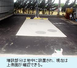 増設部分は地中に設置され、現在は上側面が確認できる。