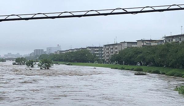 室見川・氾濫の危険 河川沿いの...